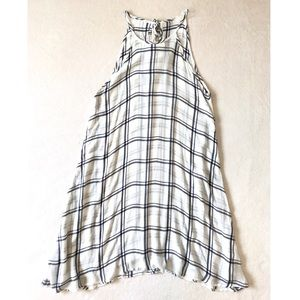 Blue and White Open Plaid Halter Trapeze Dress